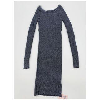Air Space Slim Fit Glitter Grey Knitted Dress 灰色針織連身裙 長身裙