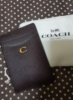 全新coach咖啡真皮卡夾