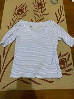 Gu 五分袖 條紋 針織 上衣