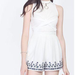 NEW-Fayth Mayflower Embroidered shorts