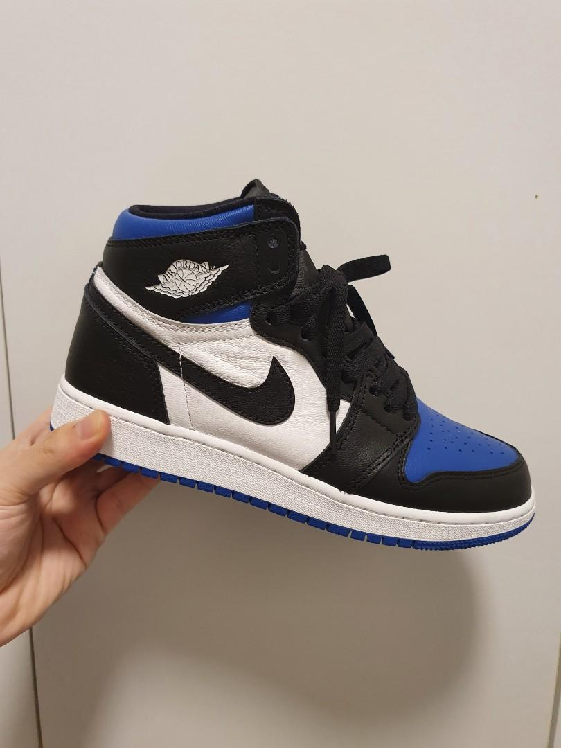 NIKE  AIR JORDAN 1 RETRO HIGH BLACK GAME ROYAL GS  SIZE:6.5y(24.5)