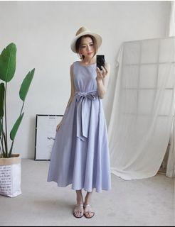 sweesa綁帶水藍長洋裝