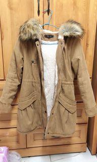 軍外套/內鋪棉連帽外套/長版大衣