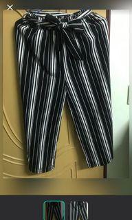 灰黑條紋鬆緊寬褲#換季