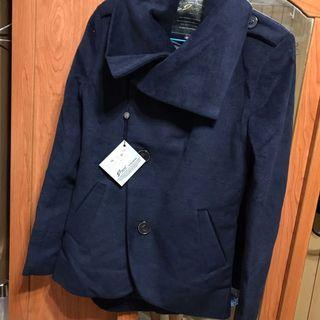 學院風 深藍 毛料 外套 大衣