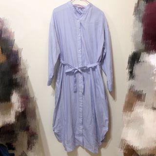 全新轉賣 日本品牌 sm2 素面綁帶排釦長洋裝 長版襯衫 長版罩衫 小外套 長洋 清新藍紫色 earth music副牌