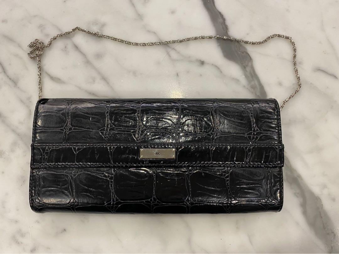 brand new black leather shoulder purse/clutch