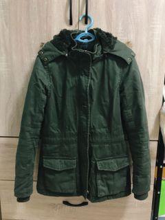 lativ綠色刷毛軍裝外套