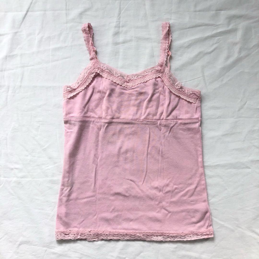 Pink Lace Camisole Tank Top