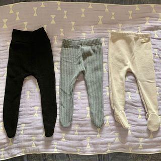韓國寶寶踩腳褲(黑高腰、灰壓條)