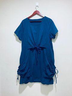 藍色設計感綁帶洋裝(僅試穿)