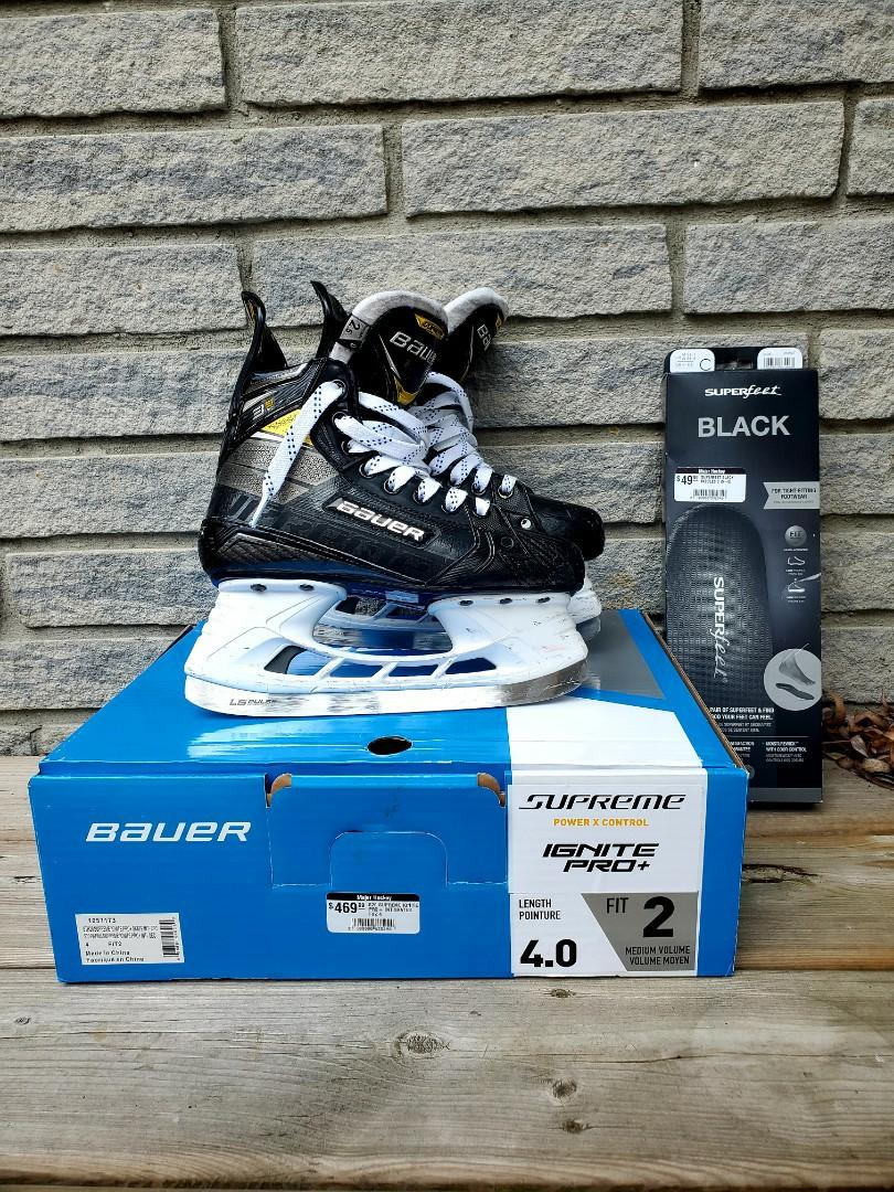 Bauer Supreme 3S Pro Ice Hockey Skates Size 2.5 with SuperFeet Insoles and Extra Laces