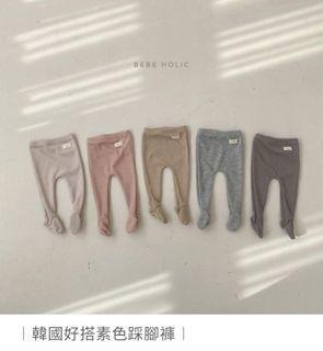 bebeholic韓國寶寶素色踩腳褲(奶油白)
