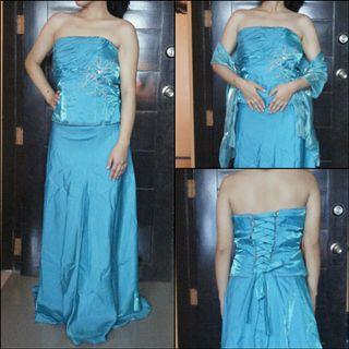 Blue Green Turquoise Tube Corset Satin 2pc  Long Gown Dress with free Shawl