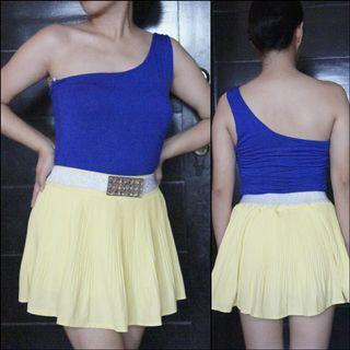 Blue Venus Cut Top and Yellow Tutu Skirt