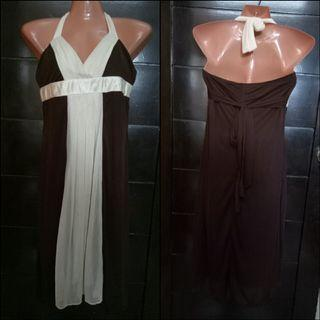 Brown and Cream Haltered Cocktail Dress