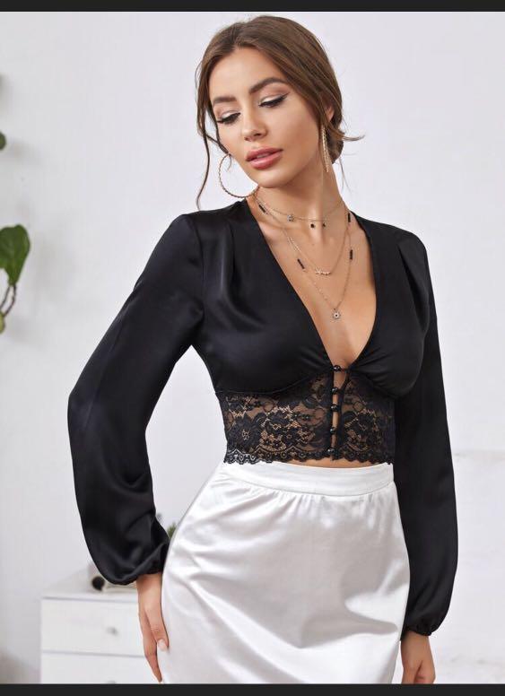 Button front lace top
