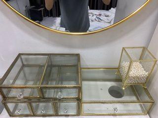 Gold framed glass organiser