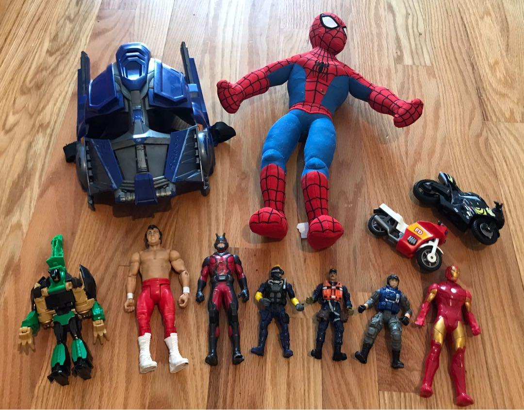 GUC Ironman / Spider-Man figures / plush toy / mask lot ($5 for all)