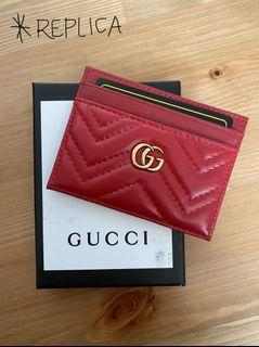 Gucci GG Marmont Card Case - Hibiscus Red