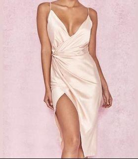 """House of CB - """"COCO"""" Nude Satin Dress"""