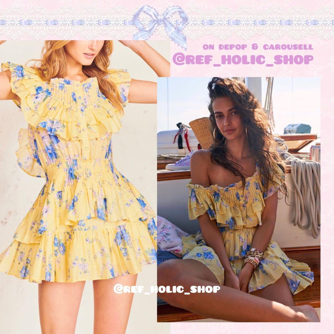 LoveShackFancy Fatima Mini Dress in Sunshine Garden   Cotton-Silk