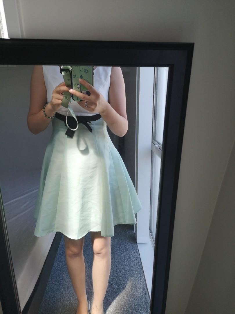 milky light green cute dress one piece with black ribbon