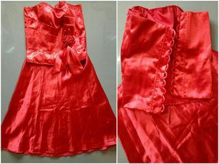Red Tube 2pc Satin Corset Cocktail Gown/Dress