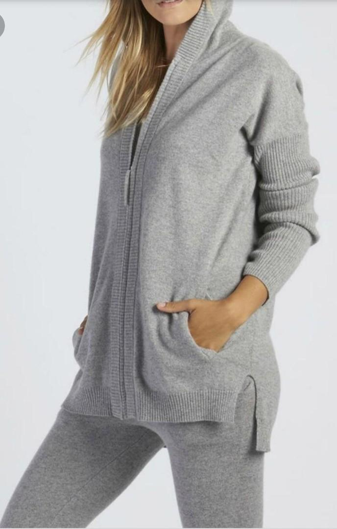 UGG 100% Cashmere BNWT Grey Sweater Zip Up Hoodie - Size L