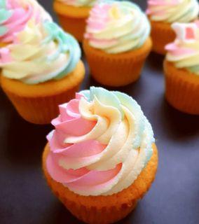 Unicorn Vanilla Cupcakes with rainbow buttetcream