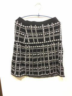 菱格紋毛料裙
