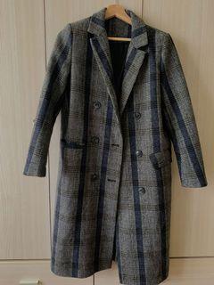 氣質格紋排扣大衣