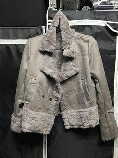 灰色兔毛機車風外套
