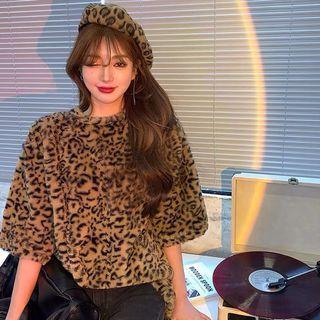 韓版 寬鬆 復古 豹紋個性 毛絨 短袖圓領上衣