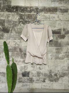 Atasan blouse layer chiffon silver