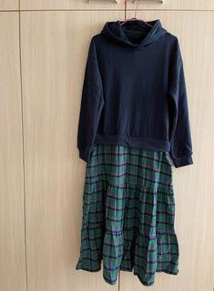 連身裙.韓系時髦假兩件拼接格紋長袖連帽長版洋裝.綠色F.白鳥麗子