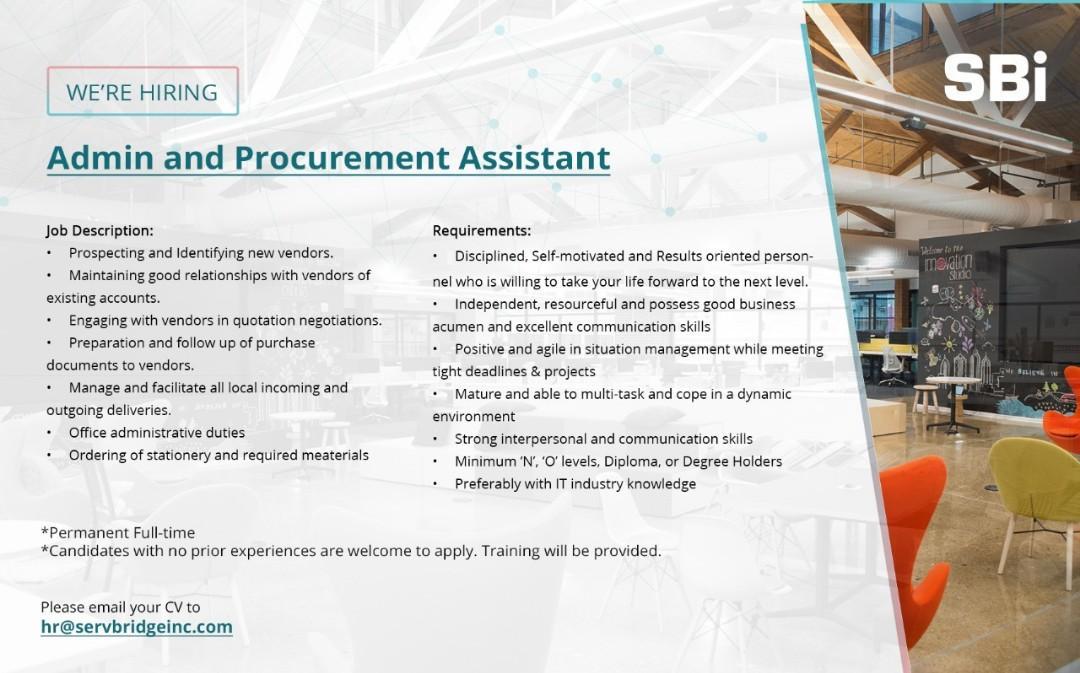 Admin & Procurement ast,  IT Engineer & Inventory Checker