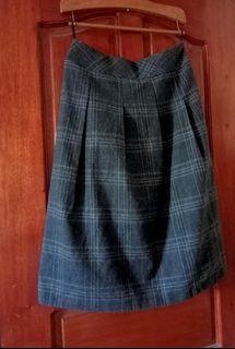 Plaid / Pleeted Midi Skirt