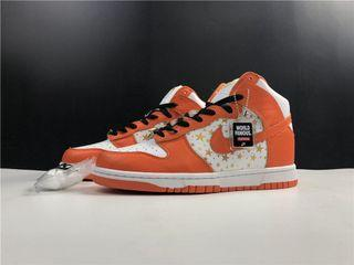 Supreme & Nike Sb Dunk High Sport Shoes In Leather With 5 Stars . Aj 1 3 4 5 7 11 13 14