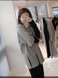 厚磅細絨短袖T/灰