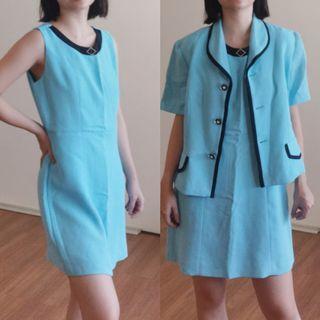 2pc Vintage Aqua Blue Dress and Blazer Set