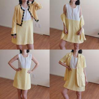 3pc Vintage Dress and Blazer Set