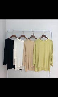(兩色)韓國🇰🇷前短後長柔軟薄長袖上衣💛🖤
