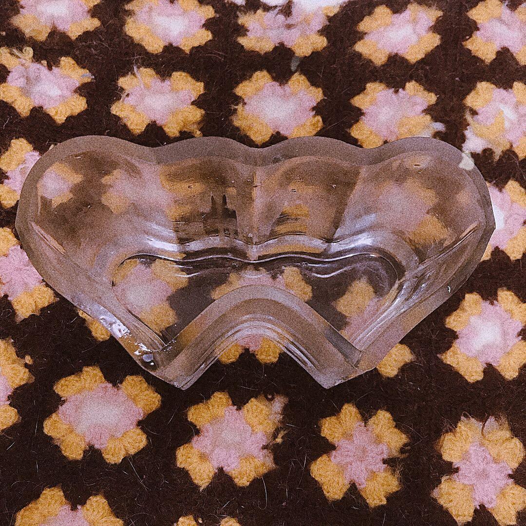 早期雙愛心玻璃瓶 花瓶 花器