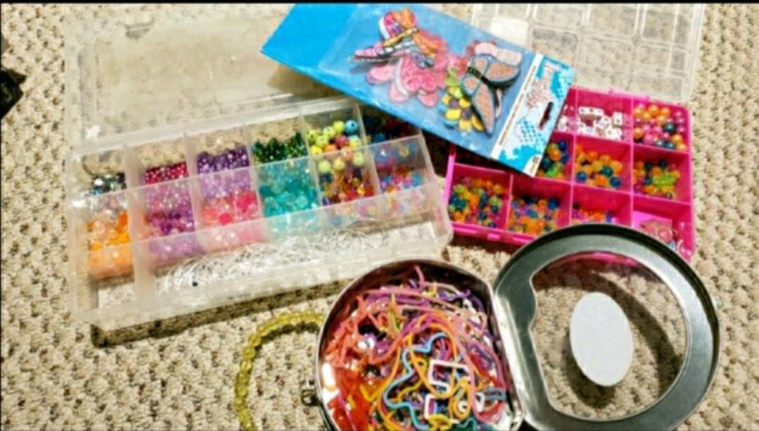 Beads, silly bands, and fabric iron-on
