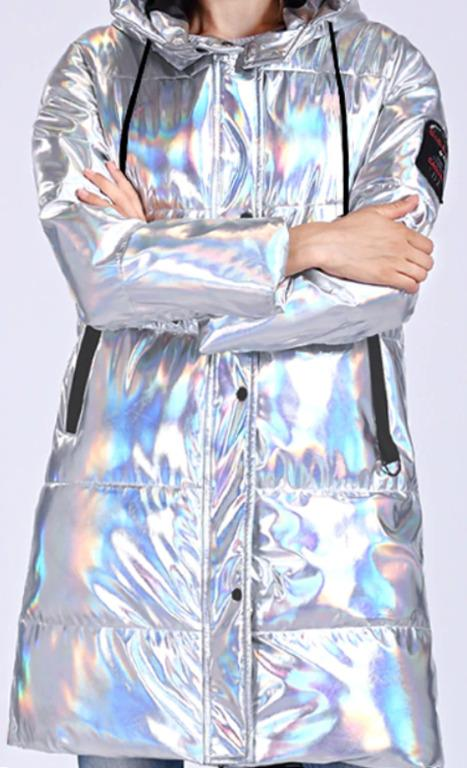CEPRASK Winter Jacket Women Silver Holographic