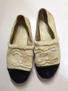 Chanel 37 草鞋 鉛筆鞋 圓頭鞋 包鞋 平底鞋 休閒鞋 帆布鞋 布鞋 黑白基本色