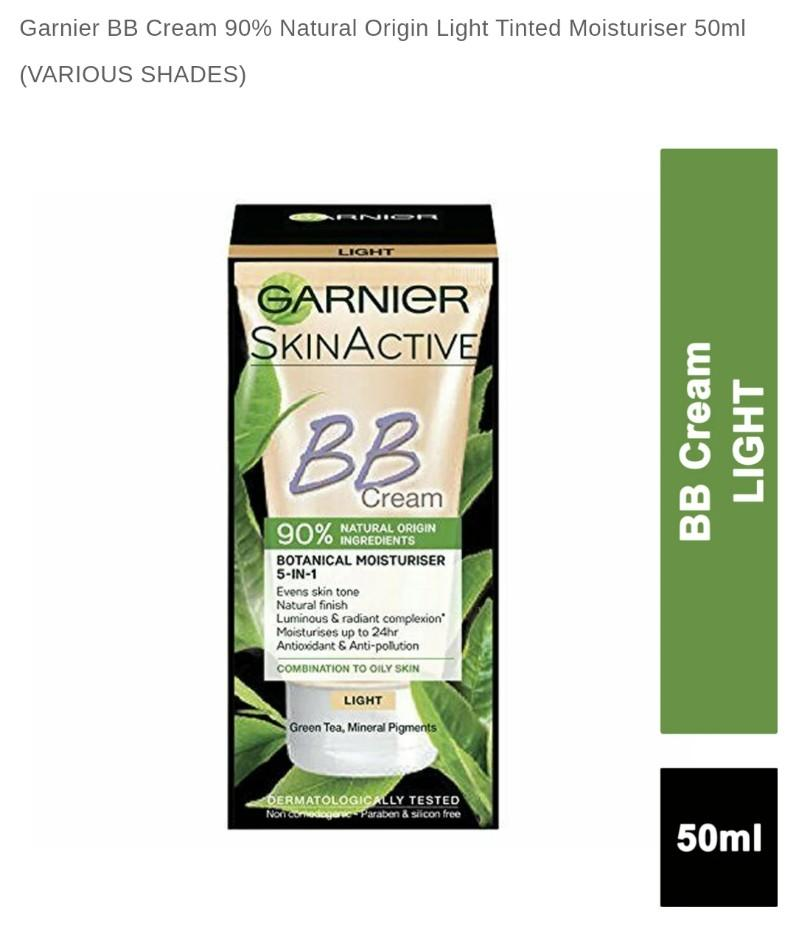 🌸Garnier Bb Cream 90% Naturally-Derived Ingredients 5-in-1 Daily Perfecting Moisturizer with Green Tea Extract Light Shade
