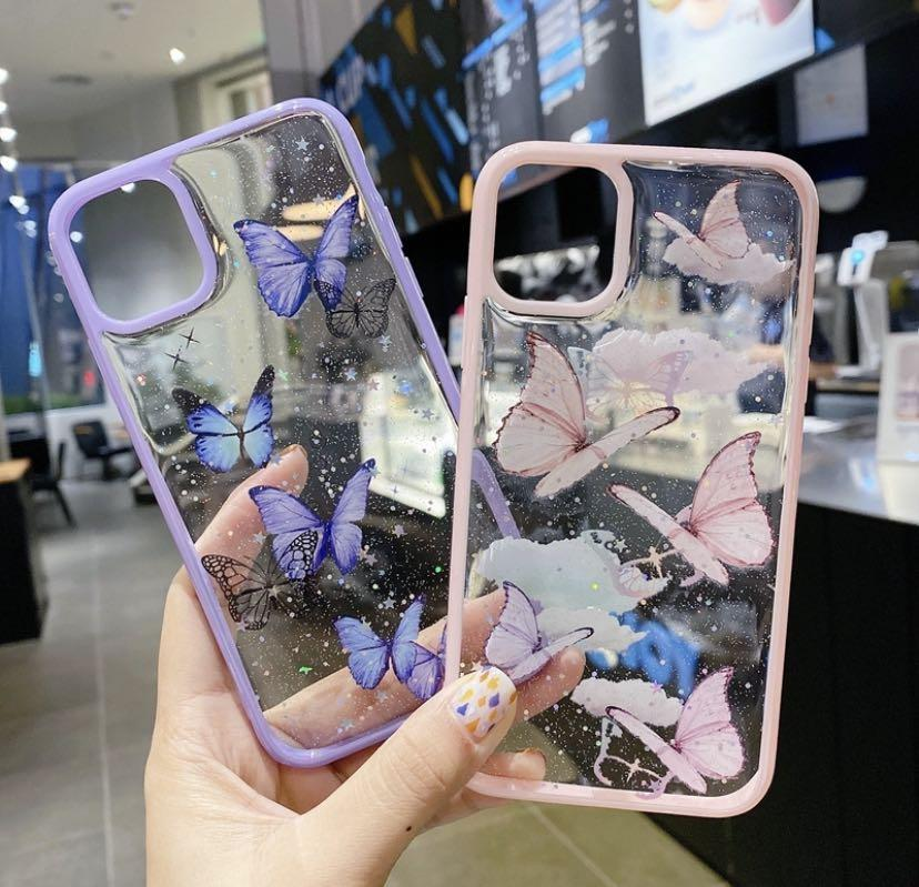 IPhone 12 Pro Max Glitter Clear Case Bling Colorful Butterfly Cartoon Soft Cover IPhone X XS Max XR 6 6S 8 7 Plus IPhone 11 Casing