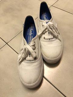 Keds 白色 37 23.5 7 布鞋 增高鞋 布鞋 帆布鞋 平底鞋 運動鞋 綁帶鞋 休閒鞋